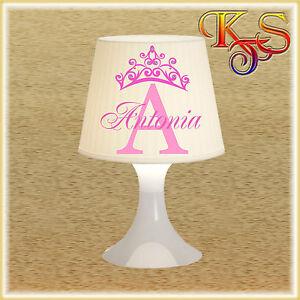 ♡♥ Kinderlampe Tischlampe Lampe Prinzessin Krone mit Wunschnamen u. Strass ♡♥
