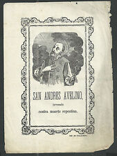Holy card lamina antique recorded de San Andres Avelino estampa santino