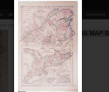 1866 LOWER CANADA MAP BY JOHNSON & WARD