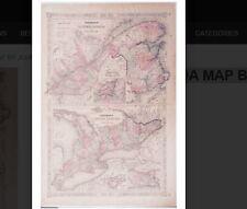 1866 LOWER CANADA MAP BY JOHNSON & WARD