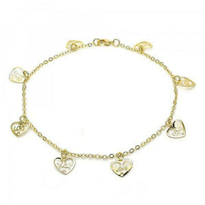 """9CT 9K YELLOW /& White /""""GOLD FILLED/"""" ANKLE CHAIN ANKLET BELL /& HEART  10.6/"""",732"""