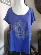 Lucky Brand Womens Purple Pullover Short Sleeve Cotton Top Size M NWOT