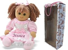 More details for personalised rag doll 1st birthday baby flower girl bridesmaid sister gift pink