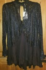 FREE PEOPLE SECRET ORIGINS PIECED LACE TUNIC BLACK SIZE XS NWT