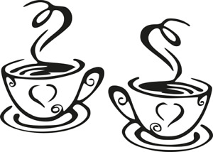 2 x Heart Coffee Cup Kitchen Wall Art Vinyl Decal Stickers  Cafe, Home Deco
