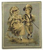 Lovely Victorian Scrap Boy Girl Fancy Dress Hat Sword Married On Path Silver