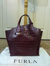 FURLA Burgundy/Vino Croc Embossed Jucca Stitch Leather Tote Bag $328