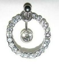 Belly Bar Clear Crystal  14g 316 Stainless Steel