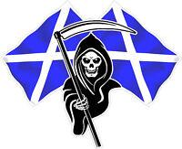 Racing Grim Reaper Skull Scotland Scottish Flag Car Sticker Small LSSSB1