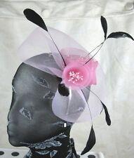 baby pink feather headband fascinator millinery wedding ascot hat hair piece 1