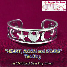 in Solid 925 Sterling Silver - New! Hearts, Moon & Stars Filigree Toe Ring