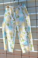 Women's Eddie Bauer Sleepwear 100% Cotton Blue Yellow Floral Pants, Size L