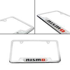 1x Nismo Chrome Stainless Steel License Plate Frame & Silver Carbon Fiber Emblem