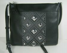 Calvin Klein Pebble Leather Xbody Shoulder Bag Stud Crossbody Black $225