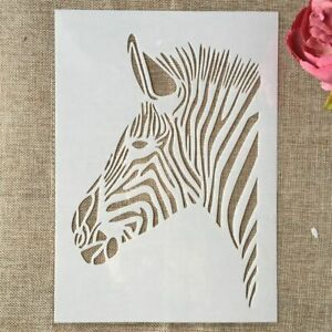 A4 Zebra Animal Face Stamps DIY Layering Stencils Wall Painting Scrapbook Emboss