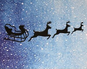 4 Sets of Santa's Sleigh + Reindeers Christmas Black Card Making Toppers 16 pcs