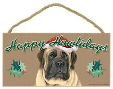 English Mastiff Happy Howlidays Santa Hat Wood Funny Christmas Dog Sign Plaque