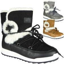 Womens Snow Boots Ladies Winter Warm Faux Fur Tie Up Ankle Flat Shoes Size