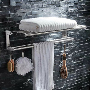 Stainless Steel 19inch Towel Shelf with Bar Brushed Nickel Towel Rack Wall Mount