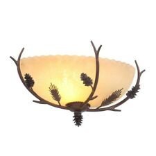 Rustic Sconce Light Wall Mounted Pine Cone Branch Sunset Glass Shade Warm Lamp