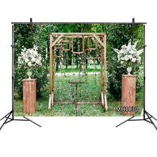 10x8FT Wedding Decor White Flowers Trees Grass Vinyl Backdrop Photo Background