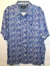 Nat Nast Mens Faded Blue Flora 100% Silk S/S Button-Front Shirt NWT $155 Size L