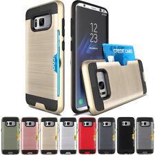 For Samsung S5 S6 S7edge S8 S9+ Hybrid Brushed Armor Rubber Card Slot Case Cover