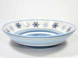 """St. Nicholas Square WINTER FROST 12.5"""" Round 2.5Qt Serving Bowl Blue Snowflakes"""