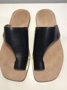 Calvin Klein Rinona Women's Sandals Slides Black Leather Au 6.5 As New Eu 36.5