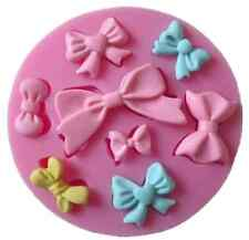 Cute Bow Ribbon Silicone Mould Present Fondant Icing Cake Cupcake Topper Baking
