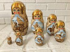 Nesting Doll 7 pcs Signed Wood Burned Russian Fairytales 3 Headed Dragon