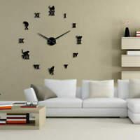 Frameless DIY Large Cat Wall Clock 3D Giant Kitty Kitten Wall Clock Wall Sticker