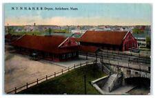 Early 1900s N.Y.N.H. & H Railroad Depot, Attleboro, MA Postcard