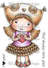 OWL HAT MARCI-La-La Land Crafts Cling Mount Rubber Stamp-Stamping Craft-Love