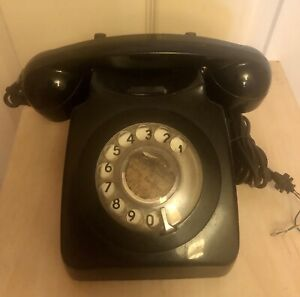 Vintage Retro Classic Black Rotary Dial Corded Telephone Bell Ringer Land Line