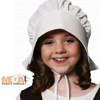 White Victorian Bonnet Gilrs Fancy Dress Historical Childrens Maid Costume Hat
