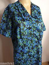 * 60 / 70 er Jahre* * Kleid * Minikleid *  Blümchenstoff * blau schwarz