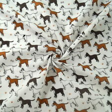 Polycotton Fabric Bulldogs Bull Terrier Dogs & Bones & Paw Prints