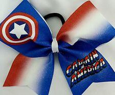 Cheer Bow - Captain America - Glitter - Hair Bows