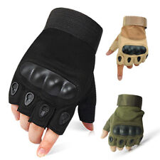 Tactical Hard Knuckle Half Finger Gloves - Army Military Airsoft Work Fingerless