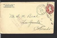 WINCHESTER, NEW HAMPSHIRE COVER,1916, AUXILLARY MARKING, BACKSTAMP.