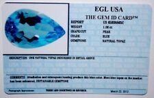 EGL USA CERTIFIED NATURAL PEAR BLUE TOPAZ 1.06 CT NOVEMBER BIRTH STONE