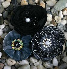 "Petaloo Floral Embellishments ""Fabric Flowers"" 3 pcs Black 1607-123"