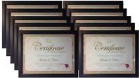 Frame Amo 8.5x11 Black Wood Certificate Frames, Glass Front, 1, 3, or 10 PACK