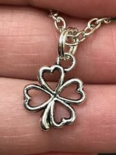 "Lucky Shamrock Outline Charm Tibetan Silver 18"" Necklace D-343B"