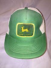 RARE VINTAGE 80s JOHN DEERE PATCH SNAPBACK HAT CAP FARMING TRACTOR MESH TRUCKER