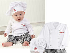 NEW kids Girl Boy Baby Cotton Party Photogragh Chef Costume top+ hat +pants prop