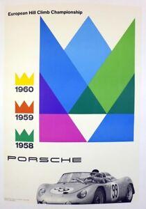 Porsche Factory poster European Hill Climb Champion ~ original & linen mounted