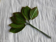 12 Polyester Green Rustic Leaf on wired stem-Crafts/Floral/Posies/WeddingFavours