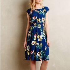 Authentic Authentic Anthropologie MAEVE Evaline Blue Floral Dress Size S